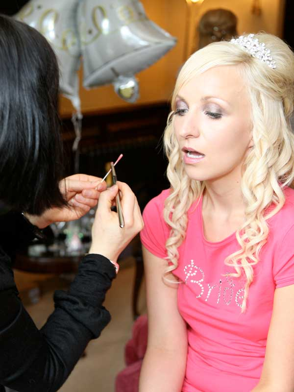Catherine applying Davina's Makeup for her Wedding at Rowton Castle in Shrewsbury